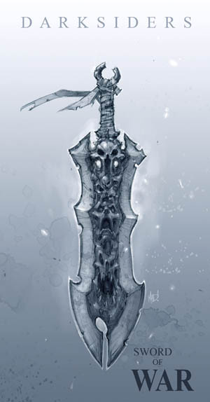Darksiders Chaoseater War's sword concept art (Pencil)
