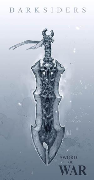 Darksiders Chaoseater War's sword concept art (Pencil)
