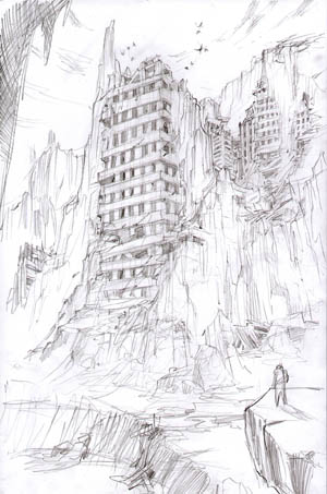 Darksiders cliff buildings concept art (Pencil)