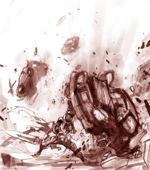 Darksiders game scene study on earth (Pencil)