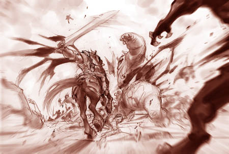 Darksiders fighting scene War and Ruin on the battlefield study (Pencil)