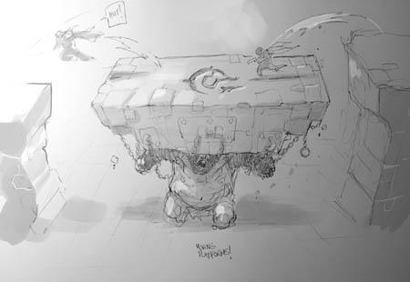 Darksiders Genesis moving platform concept art (Sketch)