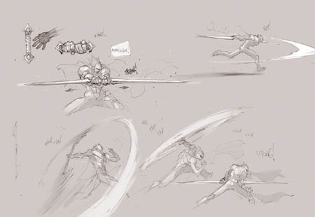 Darksiders Genesis Strife double blade concept art (Sketch)