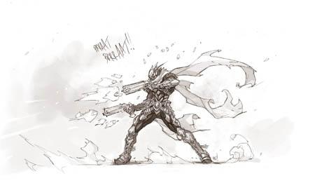 Darksiders Genesis strife, Mercy and Redemption gunfight concept art (Sketch)