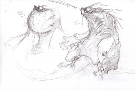 "Darksiders ""Harbor reject spitter"" concept art sketch"