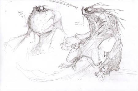 """Darksiders """"Harbor reject spitter"""" concept art sketch"""