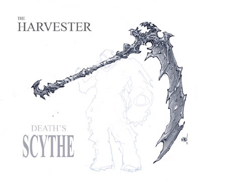 Darksiders Harvester Death's scythe concept art (Pencil)