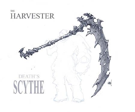 Darksiders Harvester Death's scythe concept art (Pencil)
