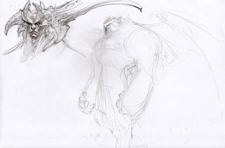 "Darksiders ""horny guy"" face & shape concept art sketch (Sketch)"