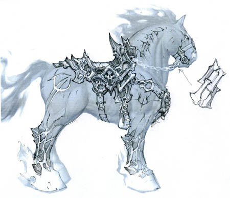 Darksiders War's horse Ruin saddle concept art  (Pencil)