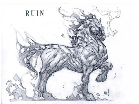 Darksiders War's horse Ruin full body concept art (Pencil)