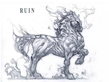 Darksiders War's horse Ruin full body concept art (Pencil)