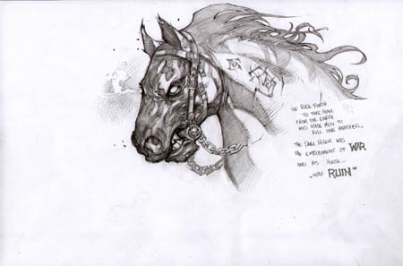 Darksiders War's horse Ruin face concept art  (Pencil)
