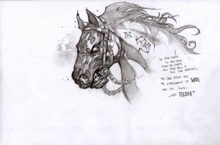 Darksiders War's horse Ruin face concept art