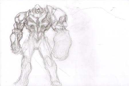 Darksiders unsued War skull armor early concept art sketch (Pencil)