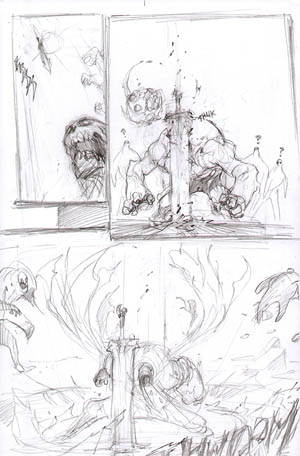 Darksiders War entrance action scene concept art (Pencil)