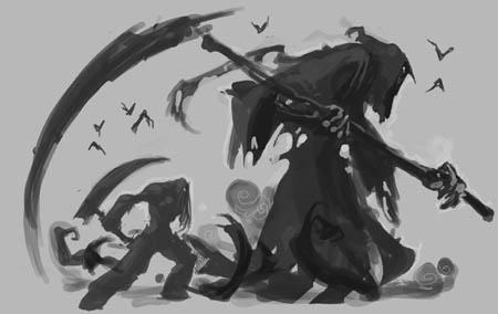 Darksiders 2 Death Reaper form classic concept art sketch (Sketch)