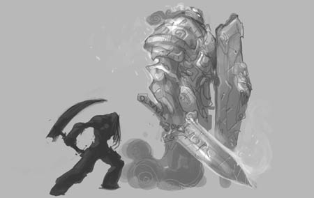 Darksiders 2 Death Reaper form guardian  concept art sketch