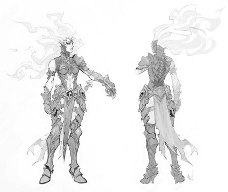 Darksiders 3 fury front back concept arts (Pencil)