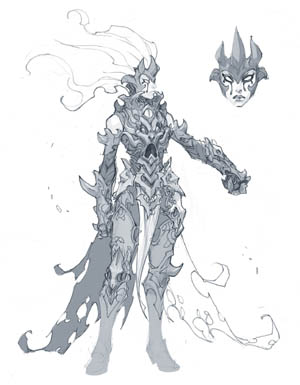 Darksiders 3 Fury abyssal armor concept art (Sketch)
