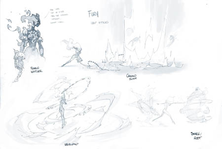 Darksiders 3 Fury's attacks and her watcher concept art (Pencil)