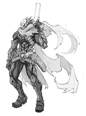 Darksiders 3 Strife standard pose concept art (Pencil)