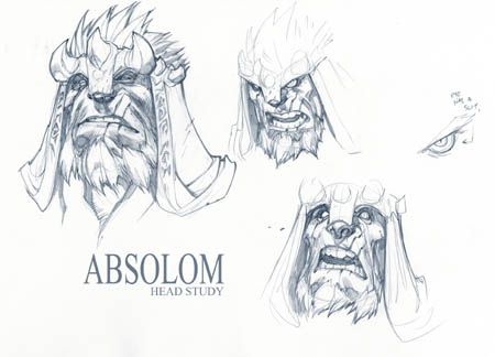 Darksiders 2: Absalom head concept art sketches (Pencil)