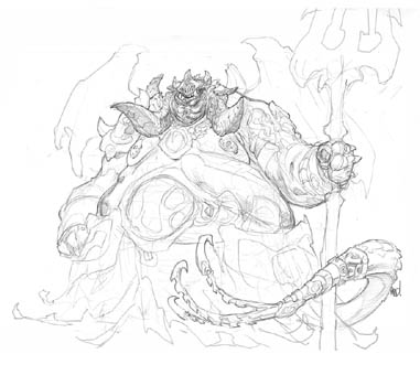 Darksiders 2 Belial (Boss) concept art (Pencil)