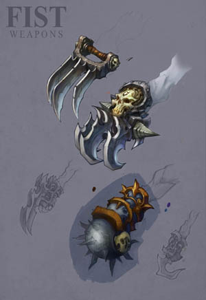 Darksiders II Claws / fist weapons concept art