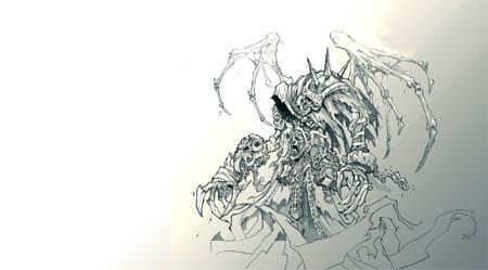 DarksidersII Death Reaper form concept art (Pencil)