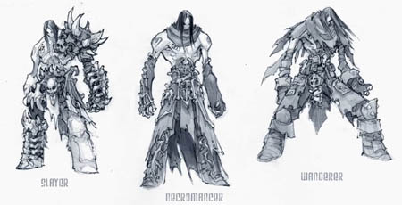 DarksidersII Death Slayer Necromancer Wanderer armors concept art (Pencil)