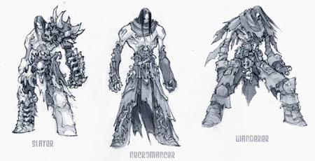 DarksidersII Death Slayer Necromancer Wanderer armors concept art (Pencil)