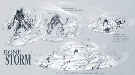 DarksidersII Death Bonestorm combat skill  concept art (Pencil)