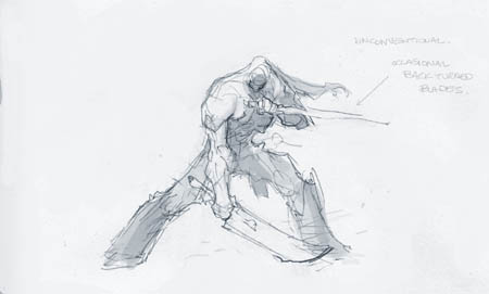 Darksiders II Death double swords idle stance concept art