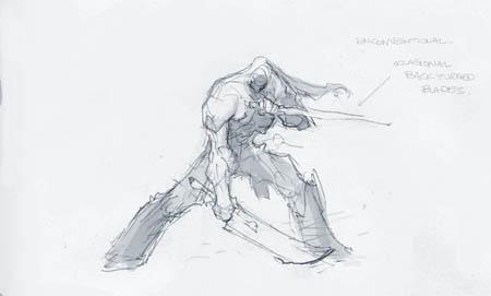 Darksiders II Death double swords idle stance concept art (Sketch)