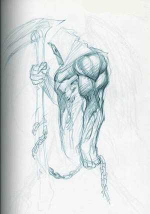 DarksidersII Death very first rough sketch (Pencil)