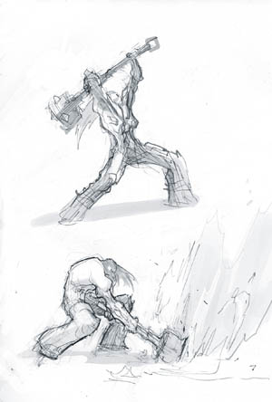 Darksiders II Death heavy attack concept art (Sketch)
