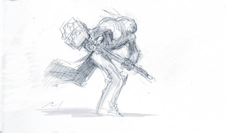 Darksiders II Death runs with heavy weapon concept art (Sketch)