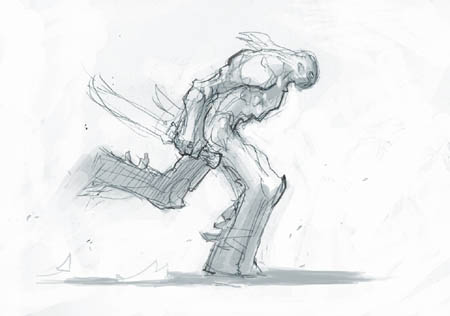 Darksiders II Death runs with 2 weapons concept art