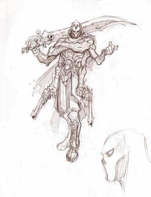 DarksidersII Death with 6 arms rejected concept art (Pencil)