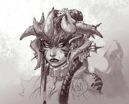 Darksiders 2: Lilith head concept art (Pencil)