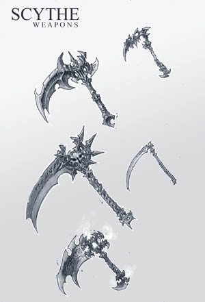 Darksiders 2 Scythes concept art (Pencil)