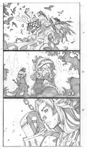 Darksiders 2 in-game cutscenes sketches