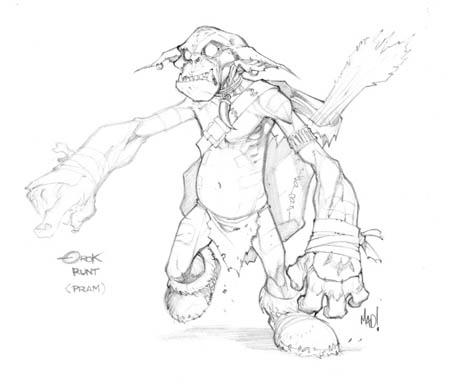 Dungeon Runners Orok Runt concept art (Pencil)