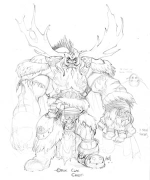 Dungeon Runners Orok clan Chief concept art (Pencil)
