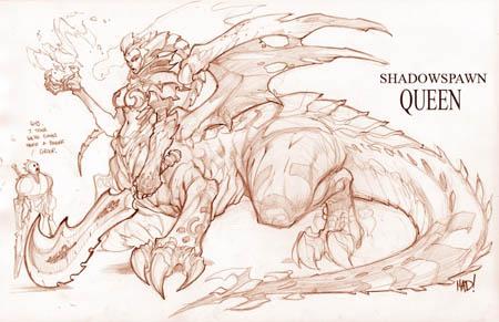 Dungeon Runners Shadowspawn queen concept art (Pencil)