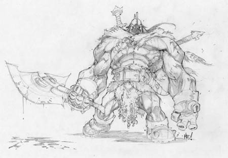 Dungeon Runners barbarian concept art (Pencil)