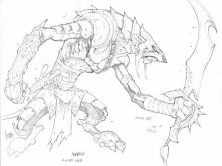 Dungeon Runners blademaster concept art (Pencil)