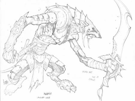 Dungeon Runners blademaster concept art (Pencil)