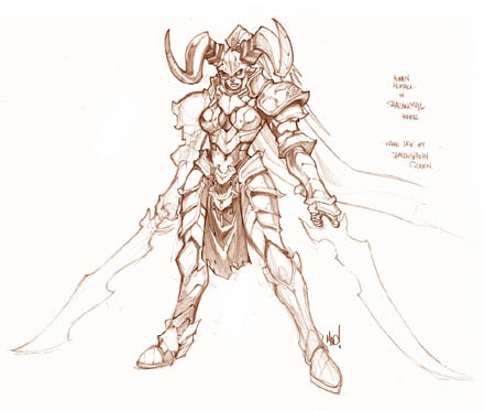 Human female in shadowmail armor concept art (Pencil)